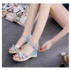 Women Summer Thick-Soled High-Heeled Sweet Printing Blue Buckle Sandals image
