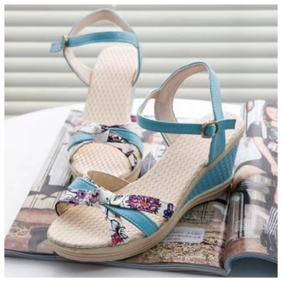 Summer Thick-Soled Sweet Floral Printing Buckle Sandals-Blue image