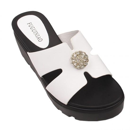 Flip Flop Simple & Elegant High Heel Summer Casual Wear Slipper-White image