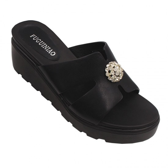 Flip Flop Simple & Elegant High Heel Summer Casual Wear Slipper-Black image
