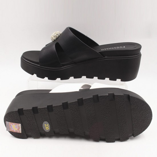 Flip Flop Simple & Elegant High Heel Summer Casual Wear Slipper-Black image
