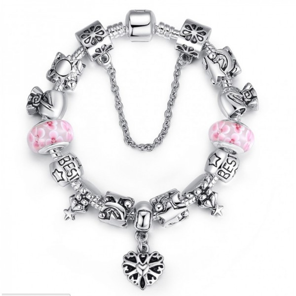 Pink Beads Silver Murano Charm With Crystal Precious Bracelets image