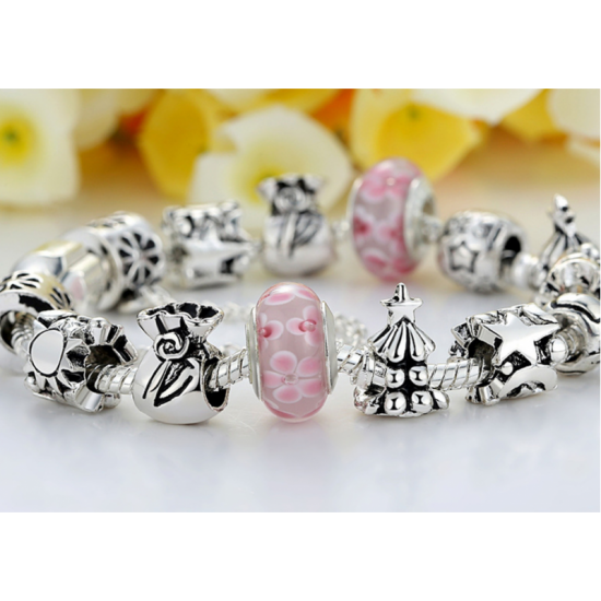 Pink Beads Silver Murano Charm With Crystal Precious Bracelets-Pink image