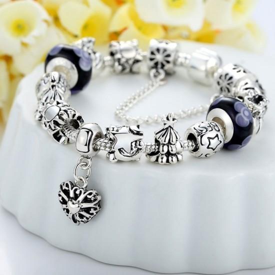 Black Beads Silver Murano Charm With Crystal Precious Bracelets-Black image