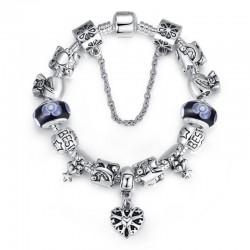 Black Beads Silver Murano Charm With Crystal Precious Bracelets