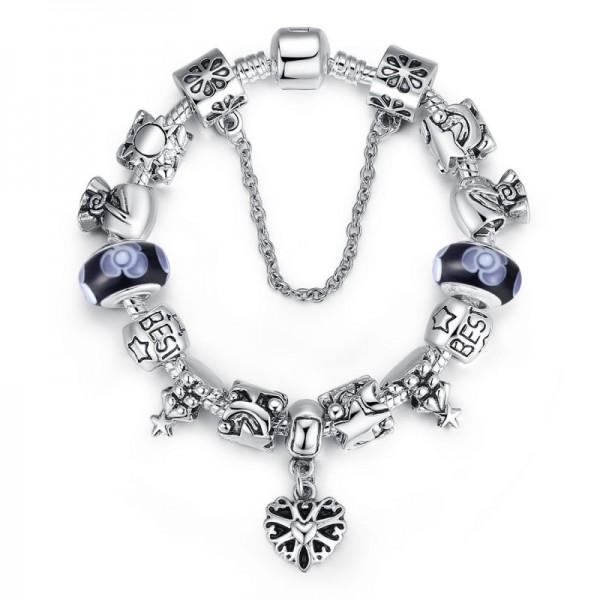 Black Beads Silver Murano Charm With Crystal Precious Bracelets image