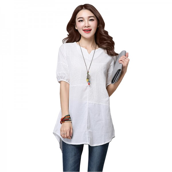 Cotton Solid Color Loose Fitting V-Neck Linen Short Sleeved Long White T-shirt image