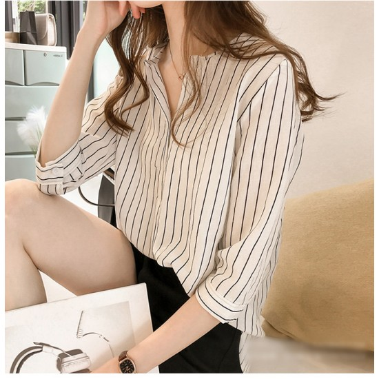 Summer Korean Fashion Striped Seven Points Sleeves Loose Casual Shirt-White image