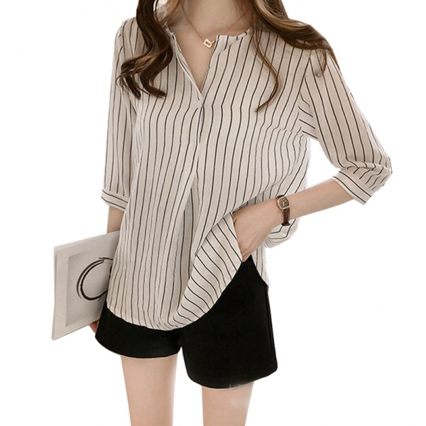Summer Korean Fashion Striped Seven Points Sleeves Loose Casual White Shirt image