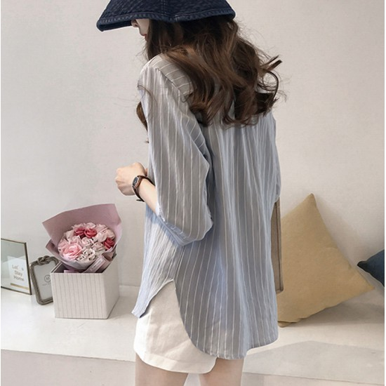 Summer Korean Fashion Striped Seven Points Sleeves Loose Casual Shirt-Grey image