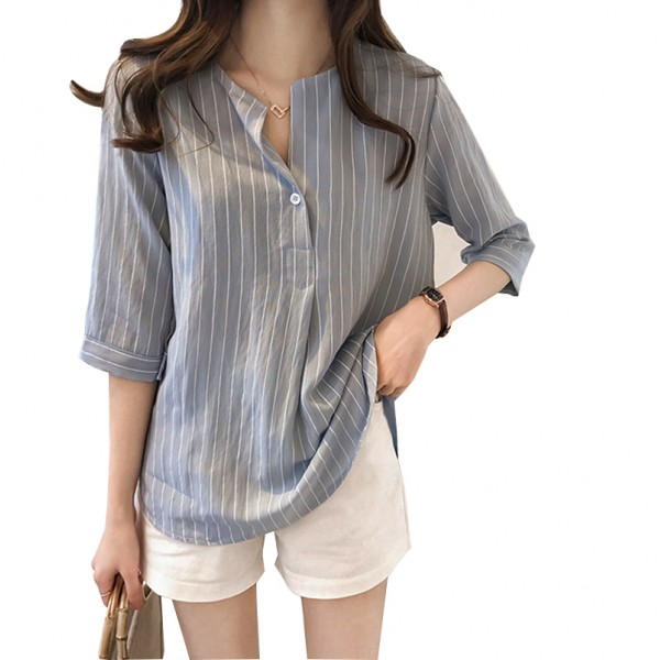 Summer Korean Fashion Striped Seven Points Sleeves Loose Casual Light Grey Shirt image
