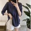 Summer Korean Fashion Striped Seven Points Sleeves Loose Casual Dark Blue Shirt image