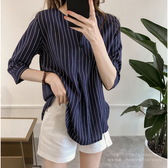 Summer Korean Fashion Striped Seven Points Sleeves Loose Casual Shirt-Dark Blue image