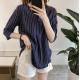 Summer Korean Fashion Striped Seven Points Sleeves Loose Casual Shirt-Dark Blue image
