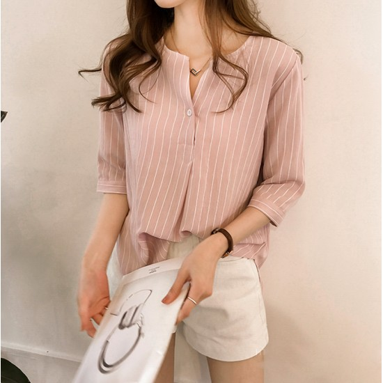 Summer Korean Fashion Striped Seven Points Sleeves Loose Casual Shirt-Pink image