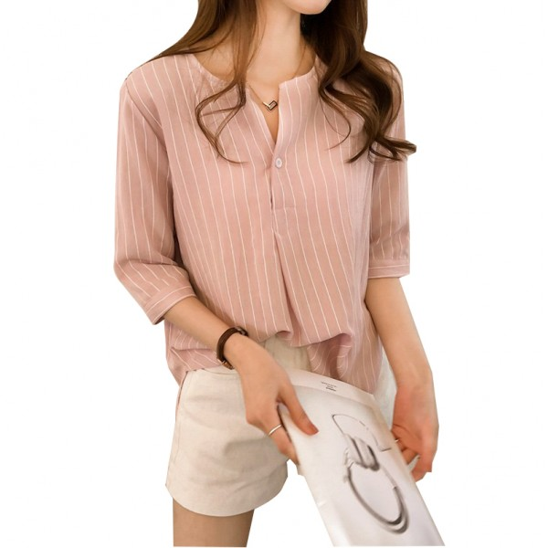 Summer Korean Fashion Striped Seven Points Sleeves Loose Casual Dark Pink Shirt image