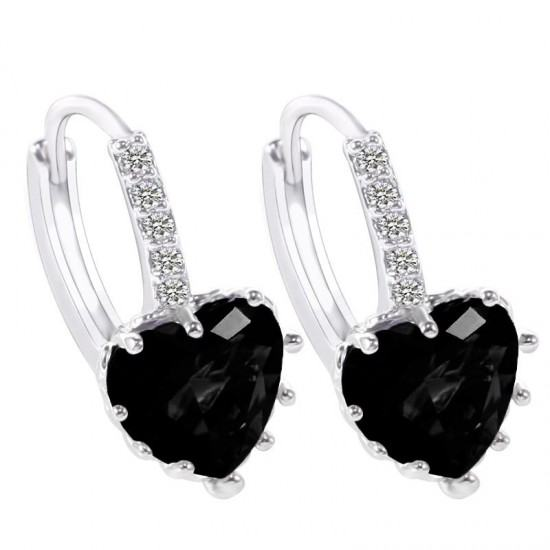 Heart Design Black Zircon Crystal Dangle Earrings-Black image