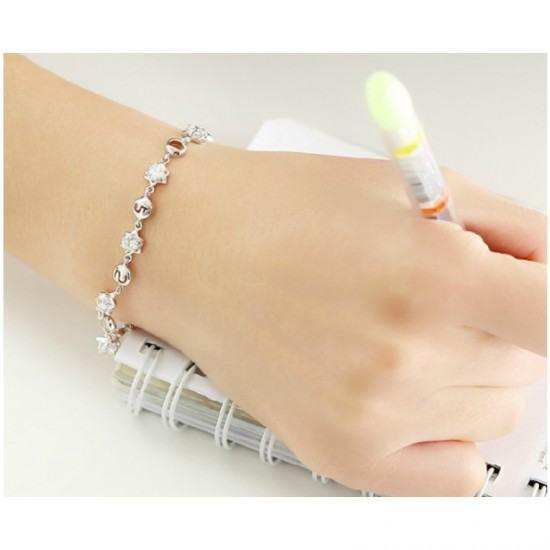 Crystal Stones Korean Fashion Bracelet For Women-Sliver image