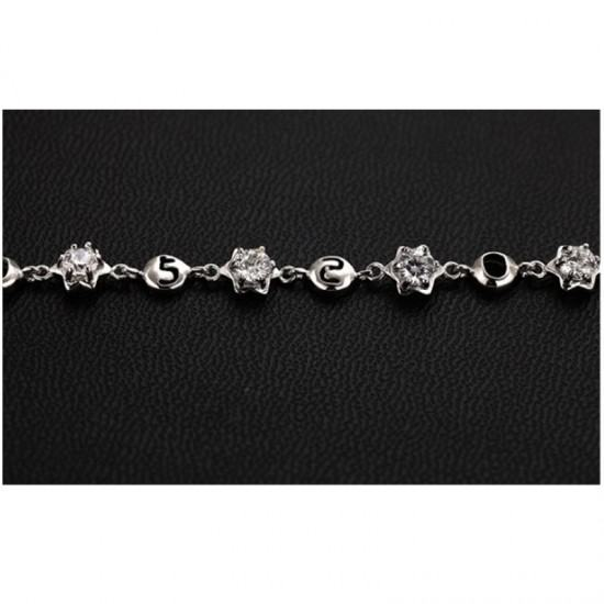 Crystal Stones Korean Fashion Bracelet For Women-Sliver image