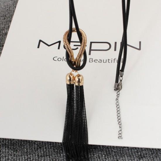 New Arrival Female Pendant Tassel Necklace-Black image