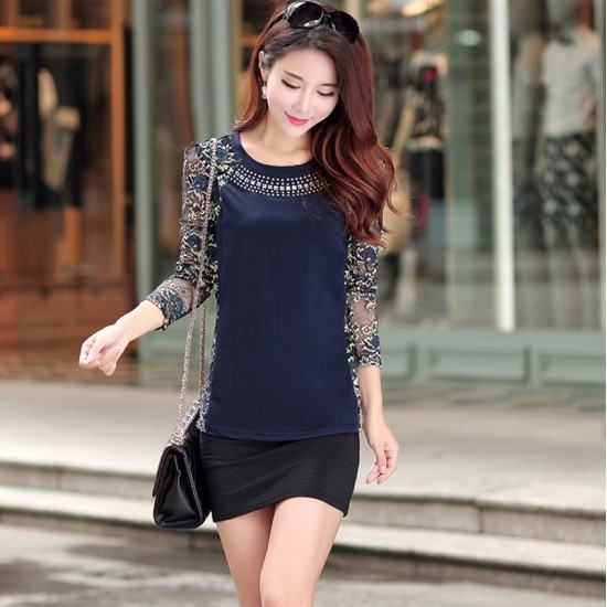 Shrink Length Long Sleeve Sheer Sexy Casual Blouse Tops T-Shirt-Blue image