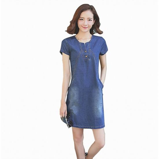 Summer Lady short Sleeve Slim Casual Jeans Denim Dress-Dark Blue image