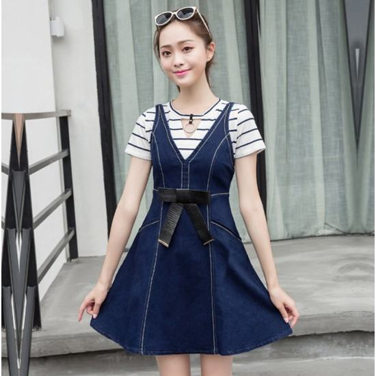 Stylish Bow Slim Sling and Attractive Denim Midi Dress-Blue image