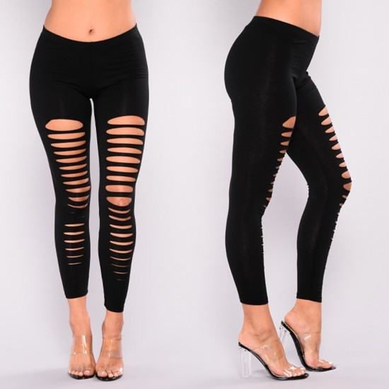 Classic Seamless Front Hole Basic High Elastic Leggings Bottom-Black image