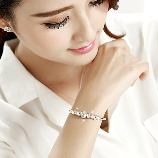 White Copper Silver Plated Running Bead Bracelet-White image