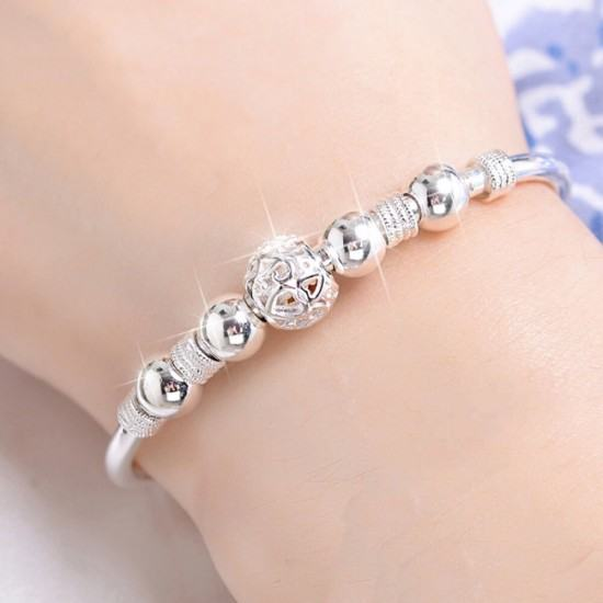 White Copper Silver Plated Running Bead Bracelet-White image