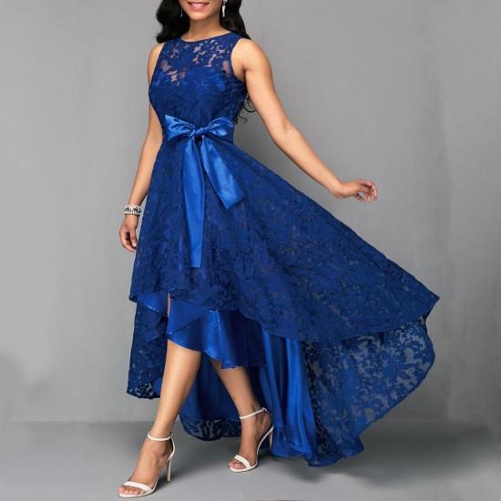 Women Fashion High Low Belted Sleeveless Lace dress-Blue image