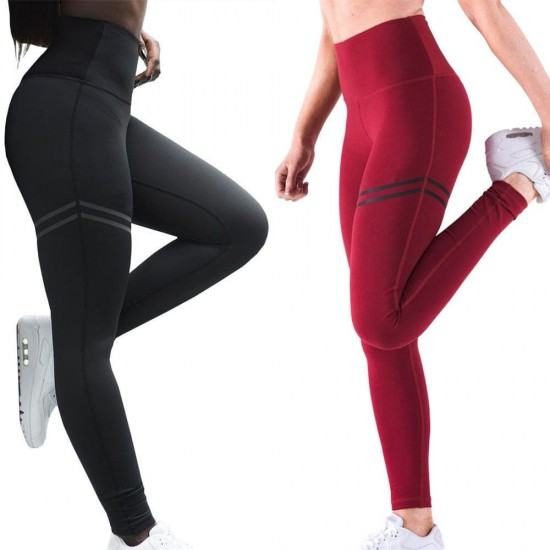 Cross Border Stripes Elastic Offset leggings Pants-Red image
