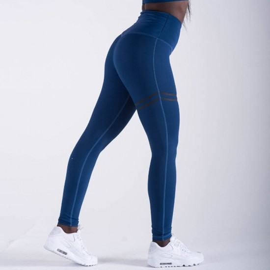 Cross Border Stripes Elastic Offset leggings Pants-Blue image