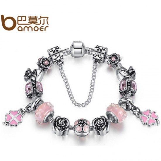 Women Diy Beaded Rhyme Charm Personality Alloy Bracelet-Silver image