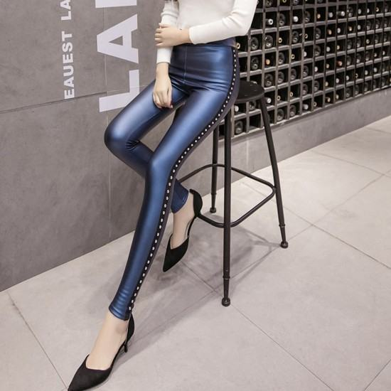 Rivets Push Up High Waist Leather Tights Leggings-Blue image