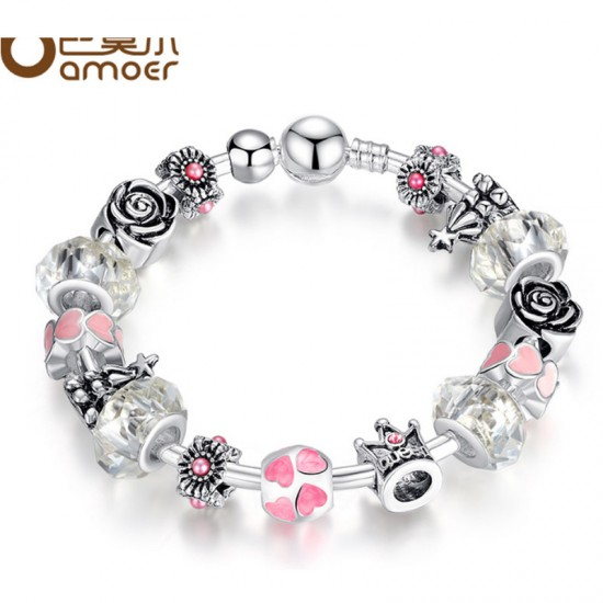 Glass Beads Personality Alloy Bracelet For Women-Light Pink image