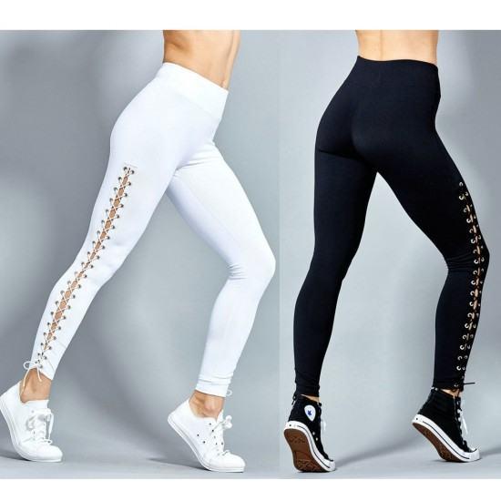 Cross Border Slim Eyelet Straps Tight Leggings -White image