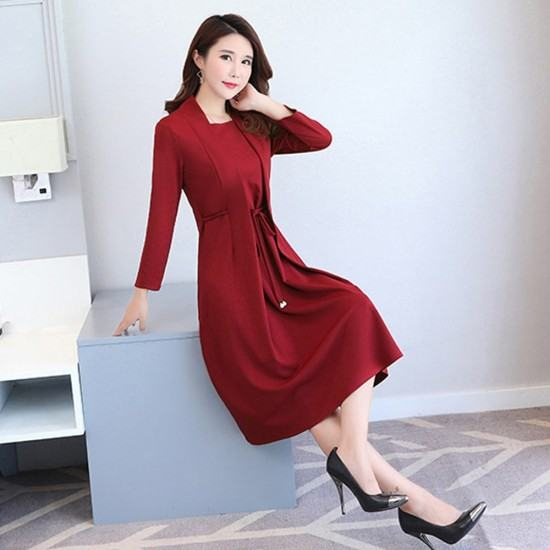 Vintage Bowknot Tow Piece Pattern Midi Dresses-Red image