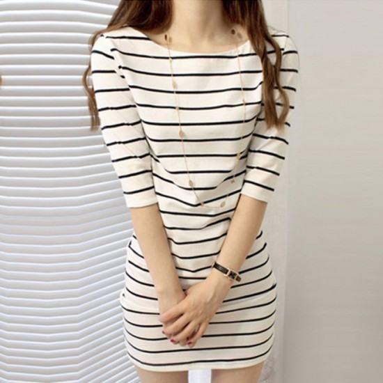 Striped Mid Sleeve Round Neck Slim Dress-White image