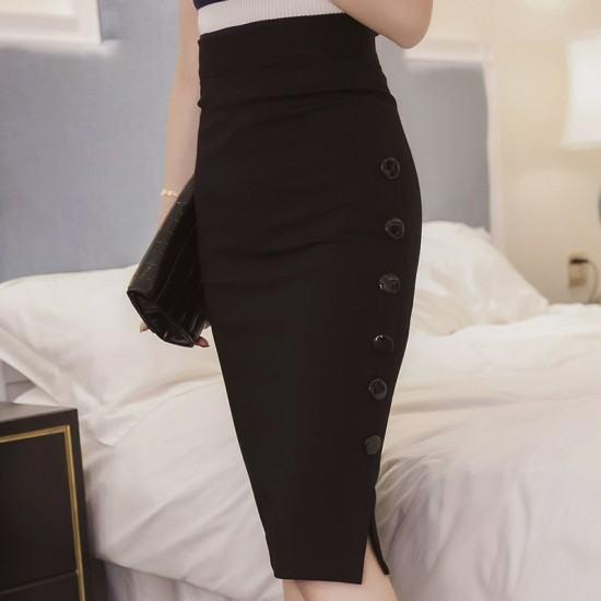 Professional Women's Split Fork Slim Side Buttons Skirt-Black image