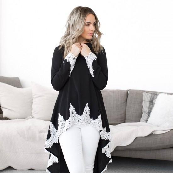 Casual Long Sleeved Irregular Lace Long Shrugs-Black image