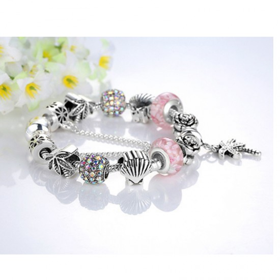 Women Silver Charm Barmo DIYBeaded Personality Alloy Bracelet-Silver image