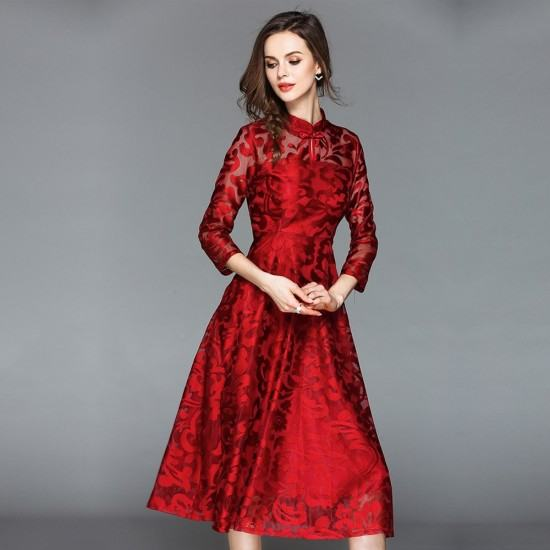 Lace Flare Sleeve Stand Collar A Line Maxi Dress-Red image