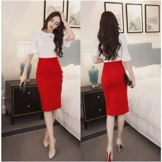 Professional Women's Split Fork Slim Side Buttons Skirt-Red image