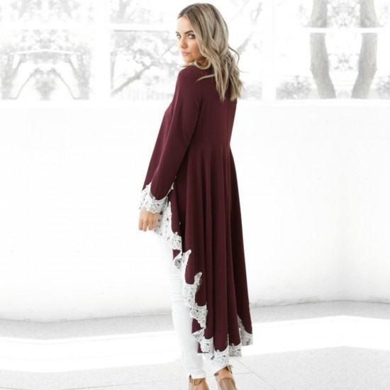 Casual Long Sleeved Irregular Lace Long Shrugs-Red image