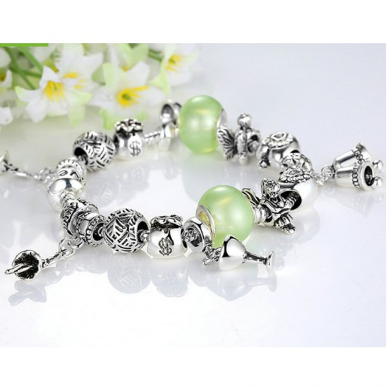 Women Charm Acrylic Beaded Personality Alloy Bracelet-Silver image