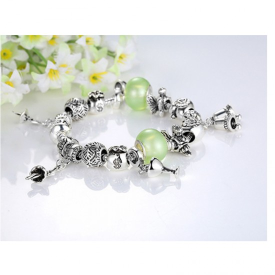 Women Charm Acrylic Beaded Personality Alloy Bracelet-Silver image