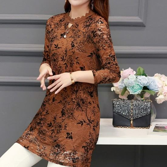Latest Design Lace Plus Velvet Bottoming Mini Dress-Brown image