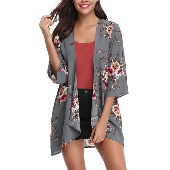Women Fashion Flower Printed Cardigan style shrugs-Grey image