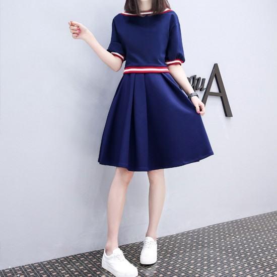 Latest Trend Short Sleeve High Waist Swing Dress-Blue image
